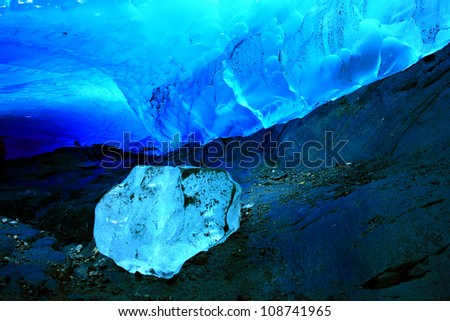 Ice Cave within Mendenhall Glacier, Juneau, Alaska, USA - stock photo