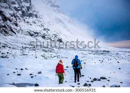 Ice caves in Iceland - stock photo