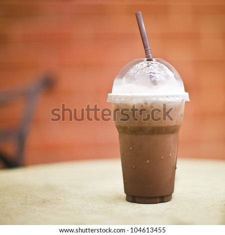 Ice chocolate on a table - stock photo