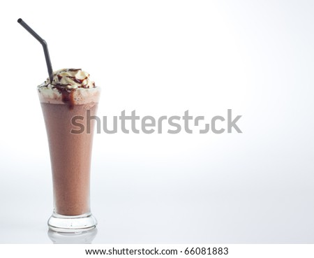 ice chocolate with whipped cream and hot fudge isolate on white background. - stock photo