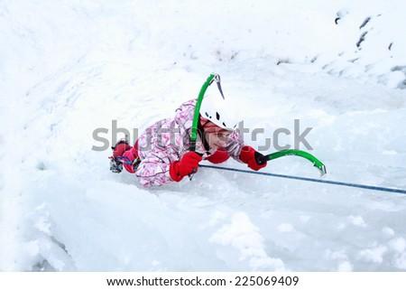 Ice climbing the North Caucasus. - stock photo