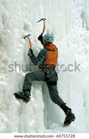 Ice climbing the North Caucasus. - stock photo