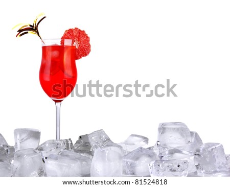 Ice cocktail isolated on white background - stock photo