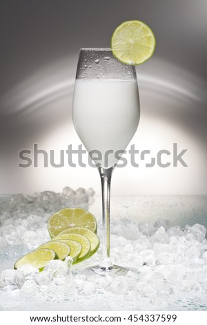 Ice Cocktail sorbet with Lime - stock photo