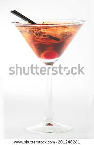 ice cocktail with sroll on white background