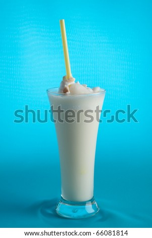 ice coconut isolate on blue background.