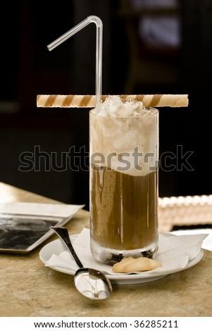 ice coffe whith cream - stock photo