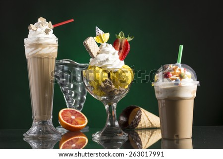 ice coffee and ice coffee take-away, and Neapolitan cup with vanilla ice, whipping cream decorated for menu card - stock photo