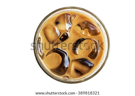 Ice coffee in a glass isolated and white background - stock photo