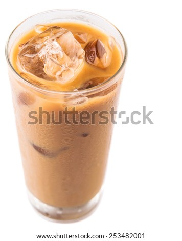 Ice coffee in a glass over white background - stock photo