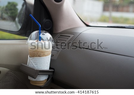 ice coffee in car caption