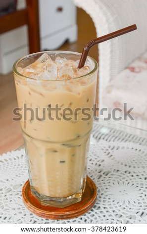 Ice coffee in coffee shop , selective focus point.