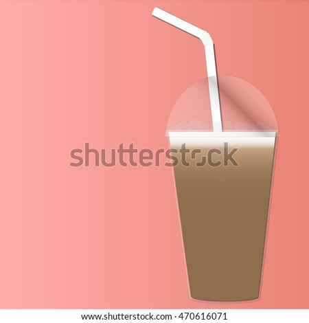 Ice coffee in plastic cup with lid and straw.