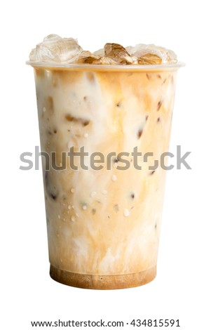 Ice coffee in takeaway cup isolated on white background - stock photo