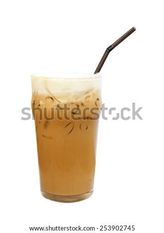 Ice coffee isolate on white background. - stock photo