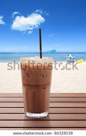 ice coffee on the beach - stock photo