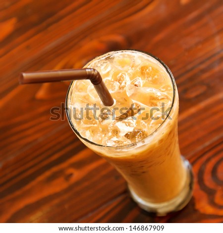ice coffee on the table
