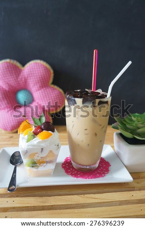 Ice coffee with black jelly