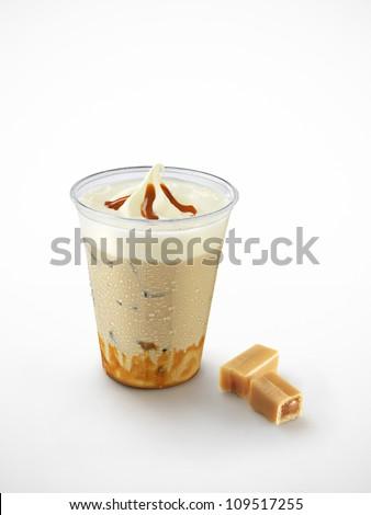 ice coffee with caramel - stock photo