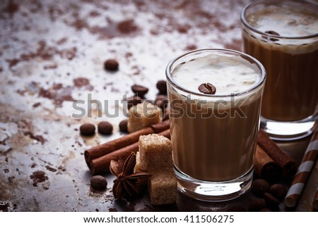 Ice coffee with cream.  Selective focus - stock photo