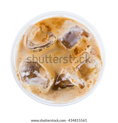 Ice coffee with milk top view isolated on white background - stock photo