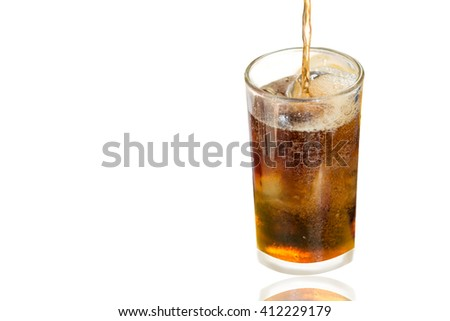 Ice cola in glass isolate on white background with shadow,fizz,thristy - stock photo