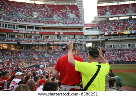 Ice cold beer for sale at the Cincinnati Reds baseball game - stock photo
