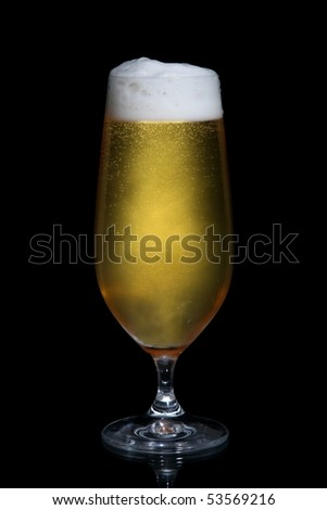Ice cold beer with frothy head and bubbles