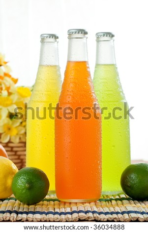 Ice cold drinks in glass bottels on wooden table