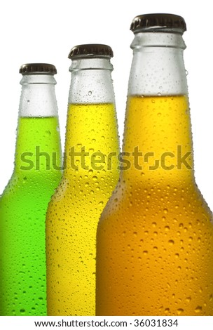 Ice cold drinks in wet bottles