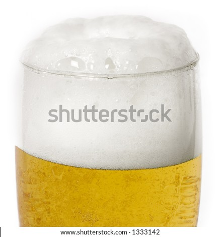 Ice cold frosty draft beer in glass - stock photo