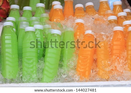 Ice Cold Juice Bottle. - stock photo
