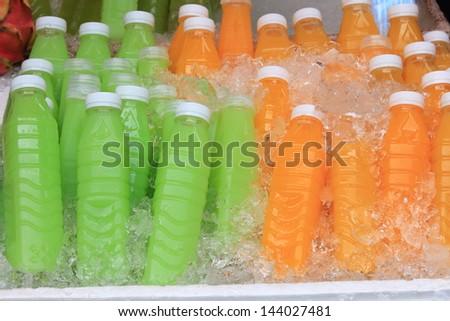 Ice Cold Juice Bottle. - stock photo