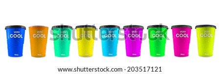 Ice cold water in Plastic cup on white background