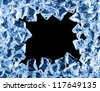 Ice cool frame with water drops, isolated black background - stock photo