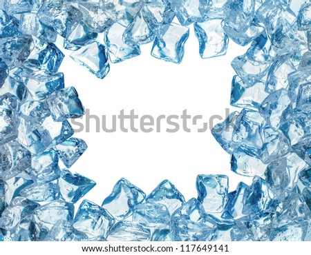Ice cool frame with water drops, isolated white background - stock photo