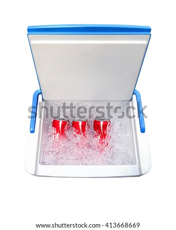 ice cooler and soft drink isolate on white background with cilpping path - stock photo