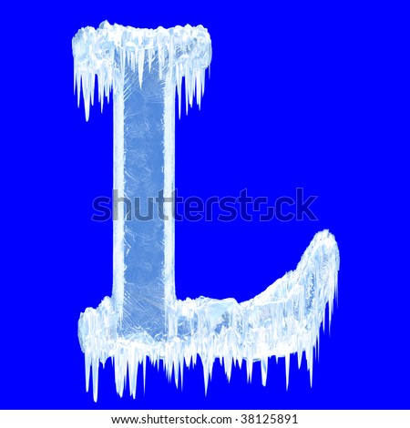 Ice-covered alphabet. Letter L.Upper case.With clipping path. - stock photo