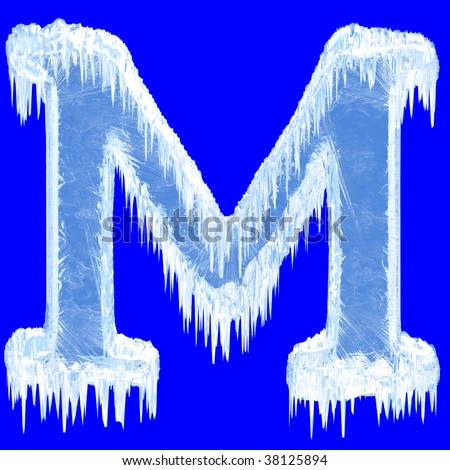 Ice-covered alphabet. Letter M.Upper case.With clipping path. - stock photo
