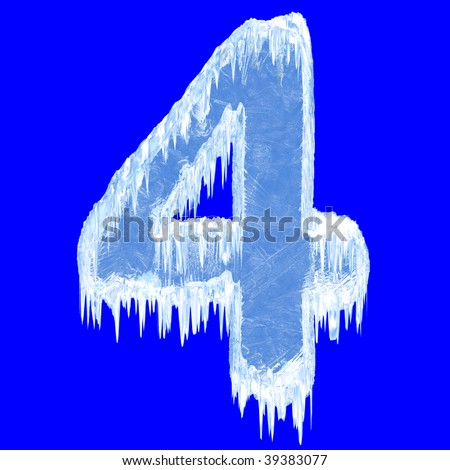 Ice-covered alphabet. Number four. With clipping path. - stock photo