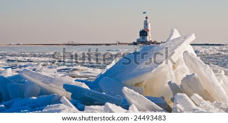 ice covered lake - stock photo