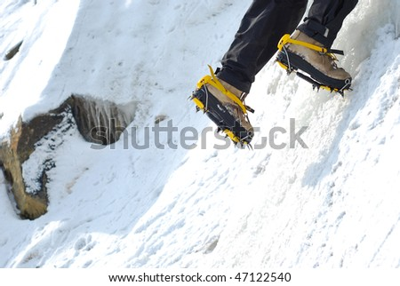 Ice crampons on glacier