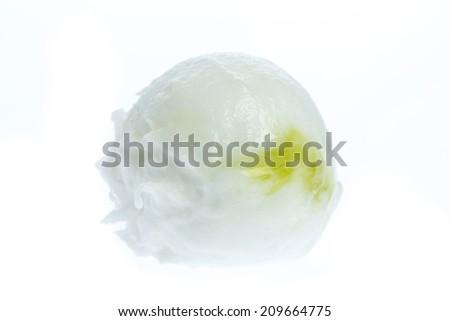 ice cream: A scoop of lemon ice cream isolated on white background - stock photo