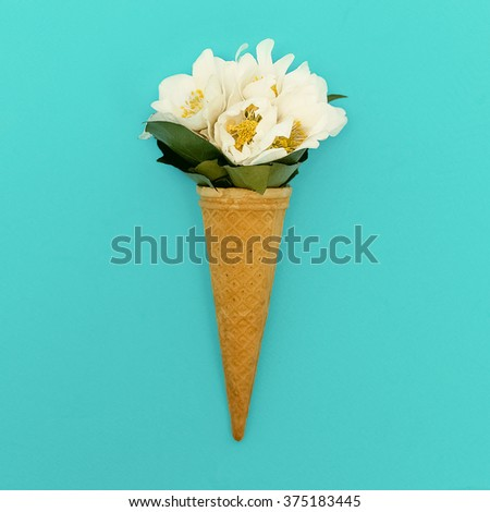 Ice Cream Bouquet. Minimalism Fashion Style - stock photo