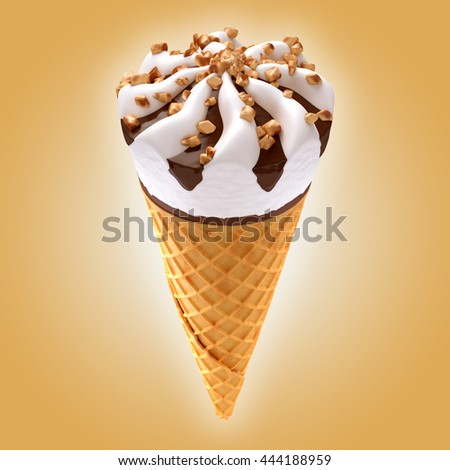 ice cream cone on brown background / 3D illustration