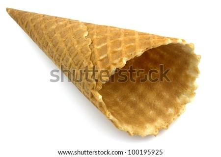 Ice cream cone on white background. - stock photo