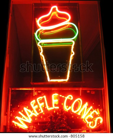 Ice cream cone sign at a drive-in restaurant - stock photo