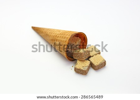 Ice cream cones and Wafers with chocolate isolated on white background - stock photo