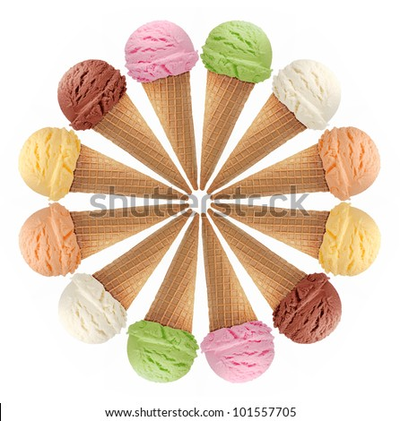ice cream cones on white background - stock photo
