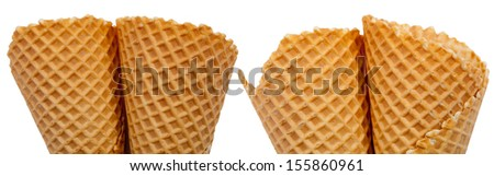 Ice cream cones set, isolated on white background